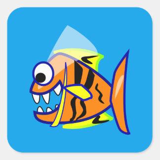 VICIOUS CARTOON FUNNY PIRANHA FISH SEA LOGO GRAPHI SQUARE STICKER