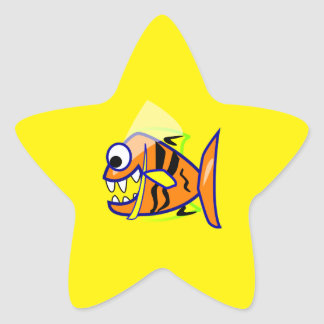 VICIOUS CARTOON FUNNY PIRANHA FISH SEA LOGO GRAPHI STAR STICKER