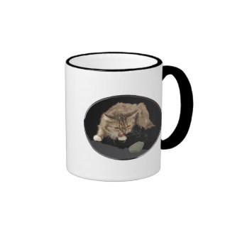 Vicious Tiger Kitty Stalks a Mouse Ringer Coffee Mug