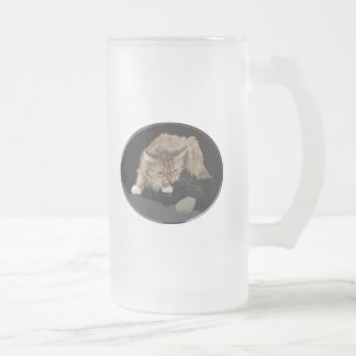 Vicious Tiger Kitty Stalks a Mouse 16 Oz Frosted Glass Beer Mug