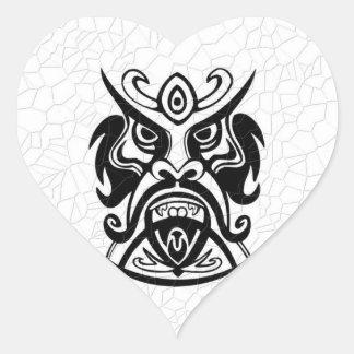 Vicious Tribal Mask B&W 006 Heart Sticker