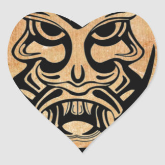 Vicious Tribal Mask,black grunge 002 Heart Sticker