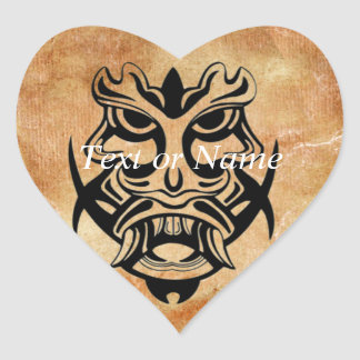 Vicious Tribal Mask Black grunge 002 Heart Sticker