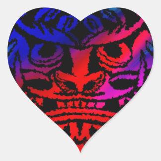 Vicious Tribal Mask,black rainbow 003 Heart Sticker