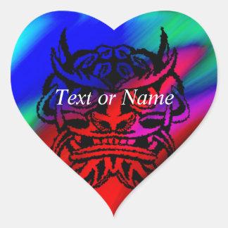 Vicious Tribal Mask Black rainbow 003 Heart Sticker