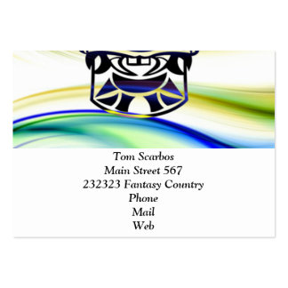 Vicious Tribal Mask blue 009 Large Business Cards (Pack Of 100)