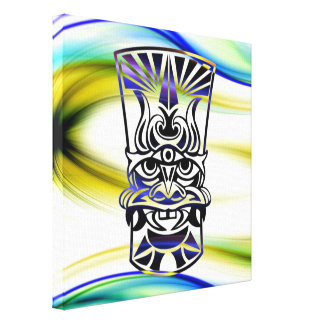 Vicious Tribal Mask blue 009 Canvas Print