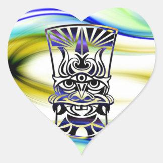 Vicious Tribal Mask blue 009 Heart Sticker
