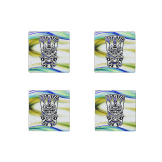 Vicious Tribal Mask blue 009 Stone Magnet