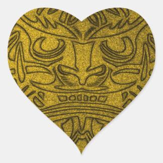 Vicious Tribal Mask, golden glimmer 004 Heart Sticker