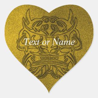 Vicious Tribal Mask golden glimmer 004 Heart Sticker