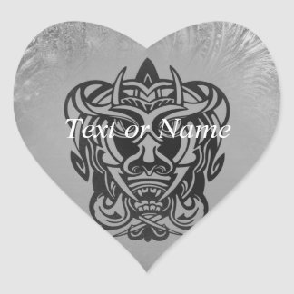 Vicious Tribal Mask silver frosty 007 Heart Sticker