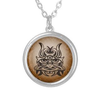 Vicious Tribal Mask ,snakeskin 005 Round Pendant Necklace