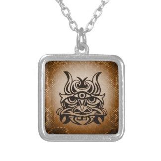 Vicious Tribal Mask ,snakeskin 005 Square Pendant Necklace