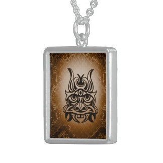 Vicious Tribal Mask Snakeskin 005 Square Pendant Necklace