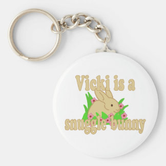 Vicki is a Snuggle Bunny Basic Round Button Keychain