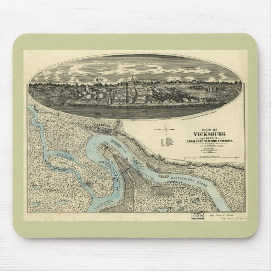 Vicksburg Mississippi 1863 Antique Panoramic Map Mouse Pad