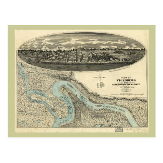 Vicksburg Mississippi 1863 Antique Panoramic Map Postcard