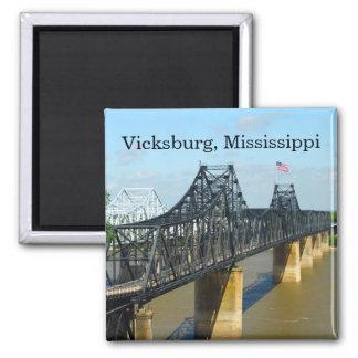 Vicksburg Mississippi River Bridge 2 Inch Square Magnet