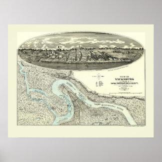 Vicksburg, MS Panoramic Map - 1863 Poster
