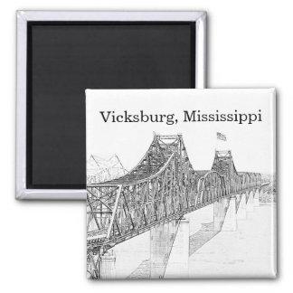 Vicksburg MS River Bridge Black & White Sketch 2 Inch Square Magnet