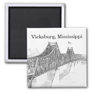 Vicksburg MS River Bridge Black & White Sketch Magnet