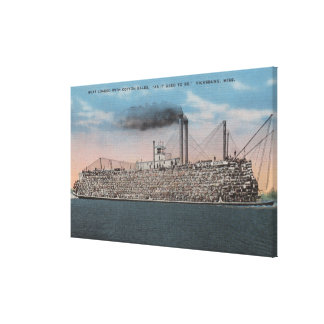 Vicksburg, MS - View of Boat with Cotton Onboard Gallery Wrapped Canvas
