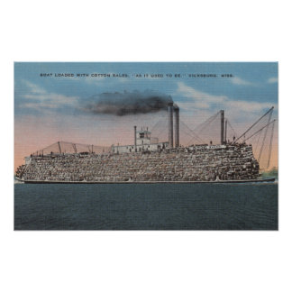 Vicksburg, MS - View of Boat with Cotton Onboard Print