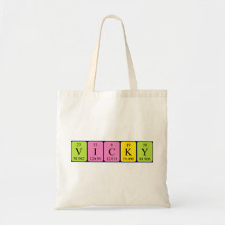 Vicky periodic table name tote bag