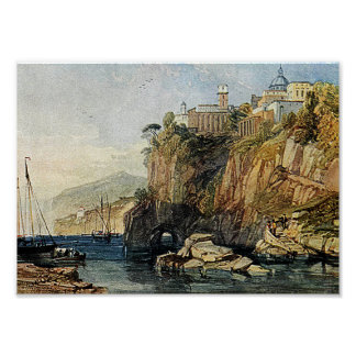 Vico, Bay of Naples Watercolor Painting Art Print! Poster