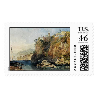 Vico, Bay of Naples Watercolor Painting USPS Stamp
