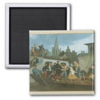 Víctimas de inundación de Napoleon que visitan III Imán Cuadrado