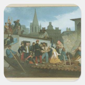 Víctimas de inundación de Napoleon que visitan III Pegatina Cuadrada