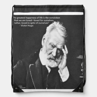 Victor Hugo & Happiness Quote Drawstring Backpack