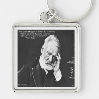 Victor Hugo & Happiness Quote Gifts Tees Etc Keychain