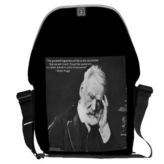 Victor Hugo & Happiness Quote Messenger Bag