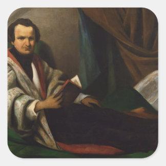 Victor Hugo  on his divan, c.1830-40 Square Stickers