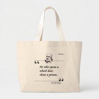 Victor Hugo Open School Door Quote Large Tote Bag