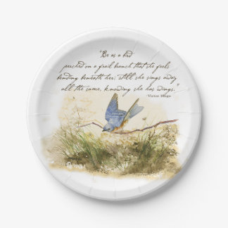 Victor Hugo Poem Bird on Branch Paper Plate