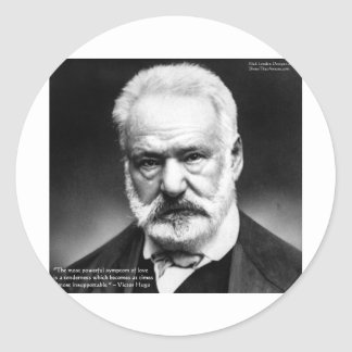 """Victor Hugo """"Tenderness"""" Quote Gifts Mugs Cards Classic Round Sticker"""