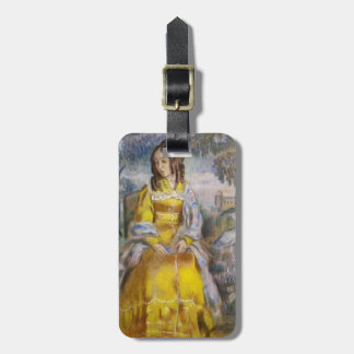 Victor Musatov- Lady Seated, with a Tapestry Travel Bag Tag