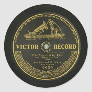 VICTOR RECORD Vintage phonograph record Classic Round Sticker