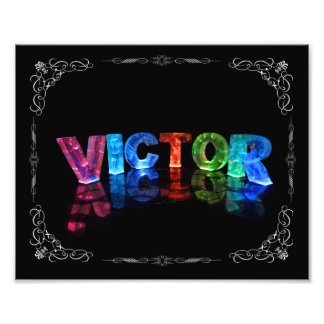 Victor  - The Name Victor in 3D Lights (Photograph Photo Print
