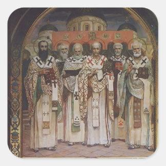 Victor Vasnetsov: Catedral de santos Calcomanía Cuadradas Personalizadas