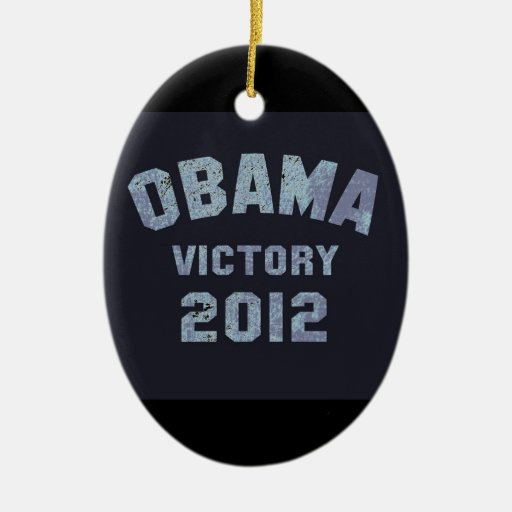 Victoria 2012 de Obama Adorno Navideño Ovalado De Cerámica