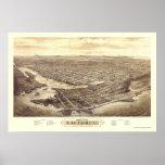 Victoria, A.C., mapa panorámico de Canadá - 1878 Impresiones