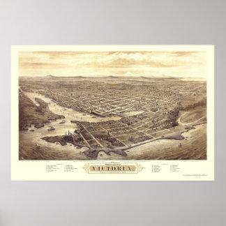 Victoria, A.C., mapa panorámico de Canadá - 1878 Póster