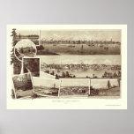 Victoria, A.C., mapa panorámico de Canadá - 1884 Póster