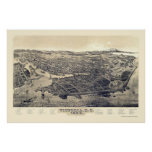Victoria, A.C., mapa panorámico de Canadá - 1889 Posters