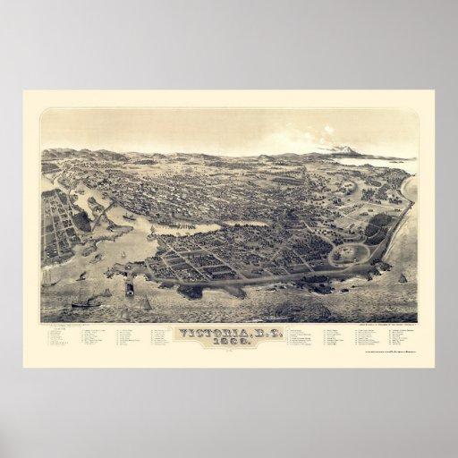 Victoria, A.C., mapa panorámico de Canadá - 1889 Póster